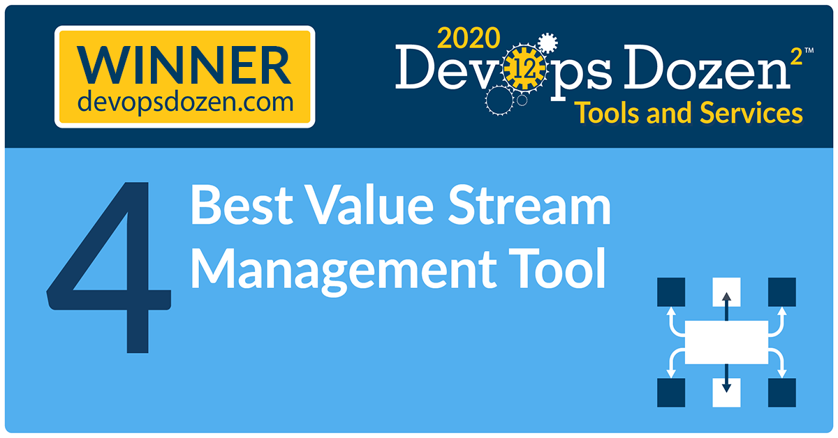 2020 DevOps Dozen award badge for Best Value Stream Management Tool