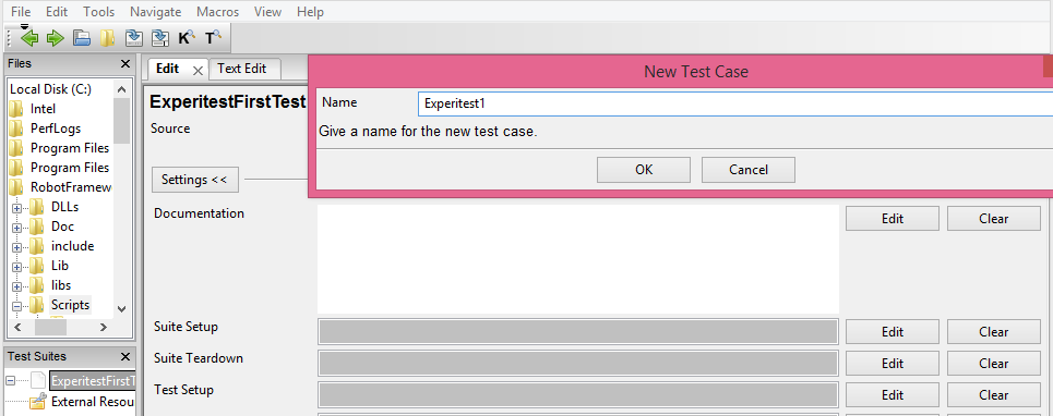test case name